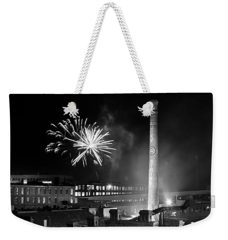 Bulls Weekender Tote Bag featuring the photograph Bull Durham Fireworks by Jh Photos