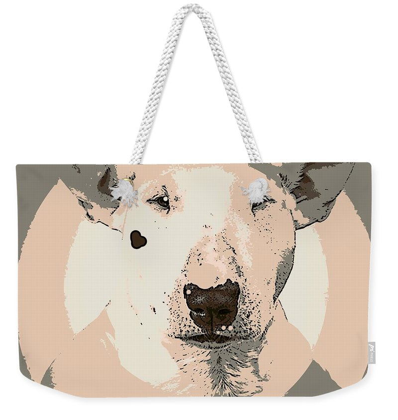 Dog Weekender Tote Bag featuring the painting Bull Terrier Graphic 1 by George Pedro