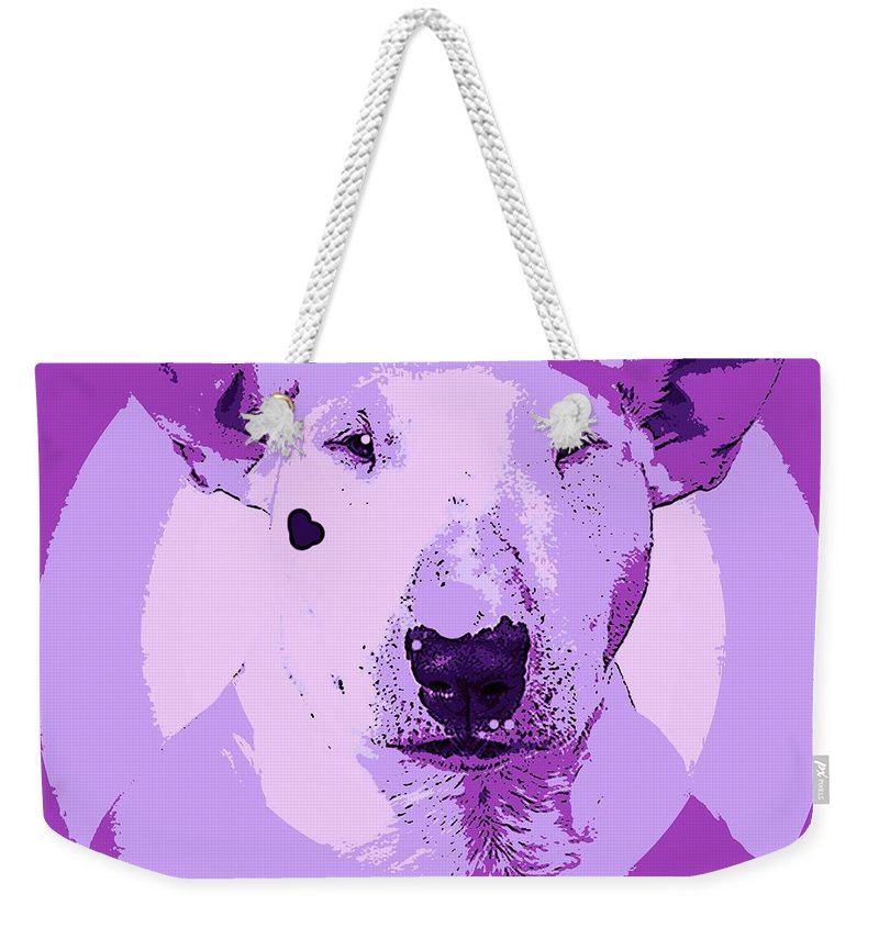 Dog Weekender Tote Bag featuring the painting Bull Terrier Graphic 5 by George Pedro