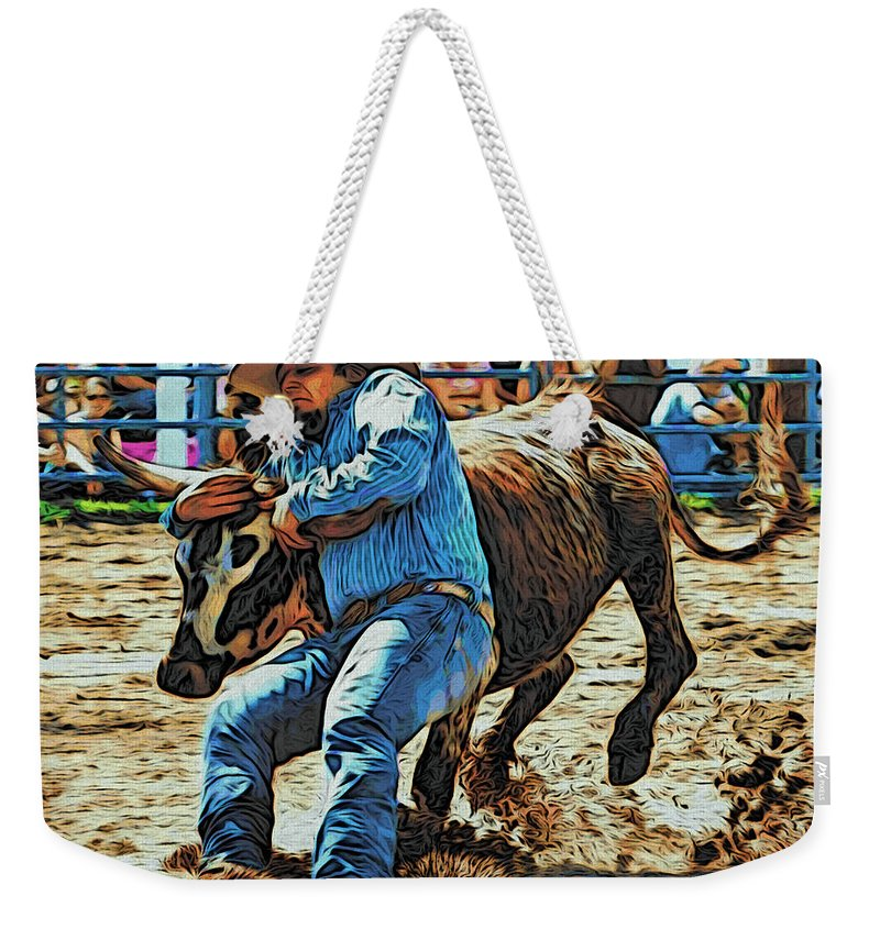 Bulldogger Weekender Tote Bag featuring the photograph Bulldog It by Alice Gipson