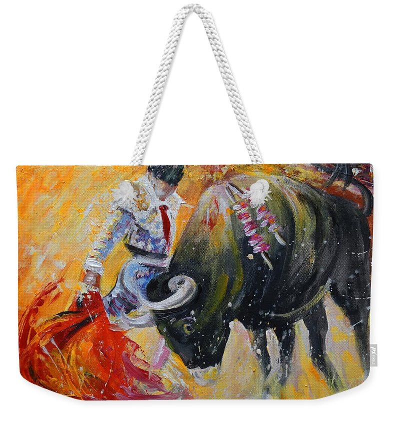 Animals Weekender Tote Bag featuring the painting Bullfighting In Neon Light 02 by Miki De Goodaboom
