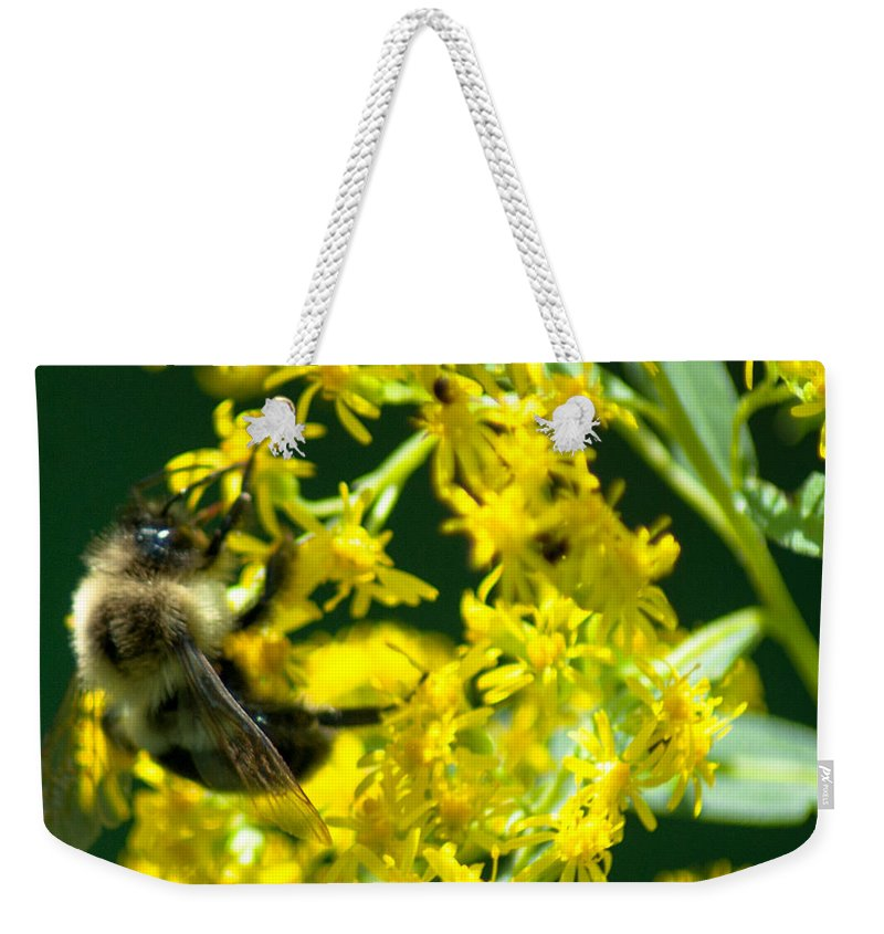 Optical Playground By Mp Ray Weekender Tote Bag featuring the photograph Bumble Bee by Optical Playground By MP Ray