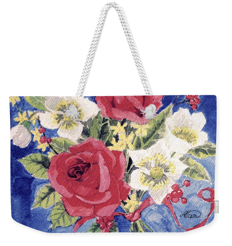 Bunch Of Flowers Weekender Tote Bag featuring the painting Bunch Of Flowers by Alban Dizdari
