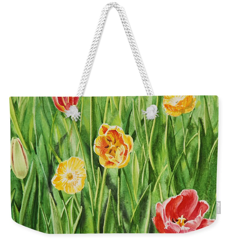 Tulip Weekender Tote Bag featuring the painting Bunch Of Tulips II by Irina Sztukowski