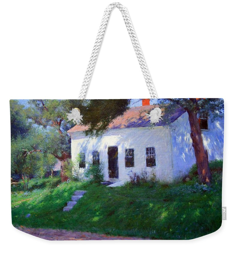 Roadside Cottage Weekender Tote Bag featuring the photograph Bunker's Roadside Cottage by Cora Wandel