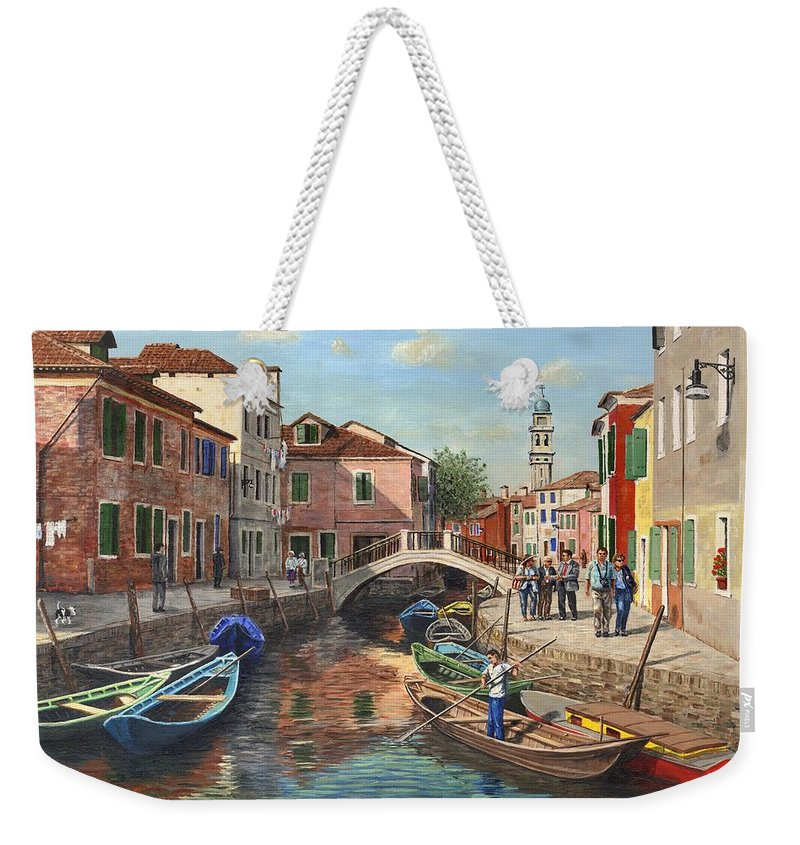 Landscape Weekender Tote Bag featuring the painting Burano Canal Venice by Richard Harpum