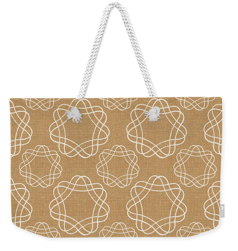 Burlap Weekender Tote Bag featuring the mixed media Burlap And White Geometric Flowers by Linda Woods