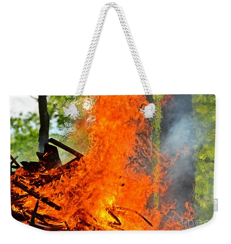 Nature Weekender Tote Bag featuring the photograph Burning Brush by Debbie Portwood