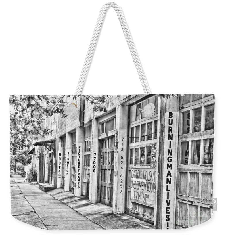 Burning Man Lives Weekender Tote Bag featuring the photograph Burning Man Lives - Surreal Bw by Scott Pellegrin