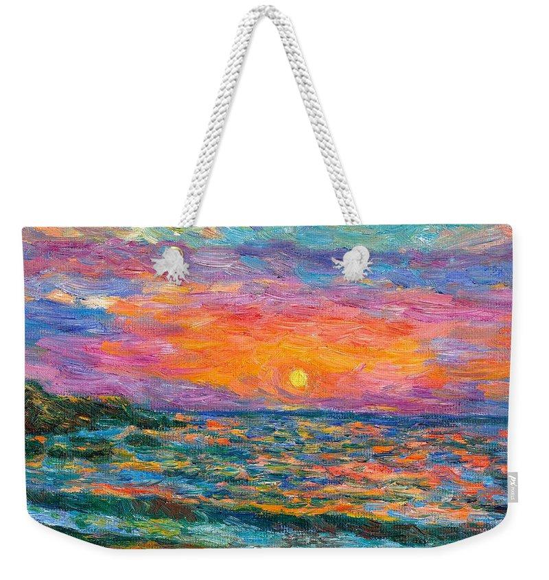 Ocean Weekender Tote Bag featuring the painting Burning Shore by Kendall Kessler