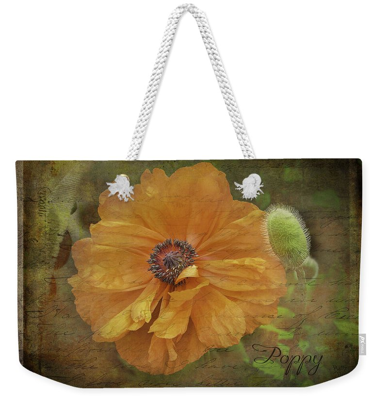 Flowers Weekender Tote Bag featuring the photograph Burnished Poppy by Betty Denise