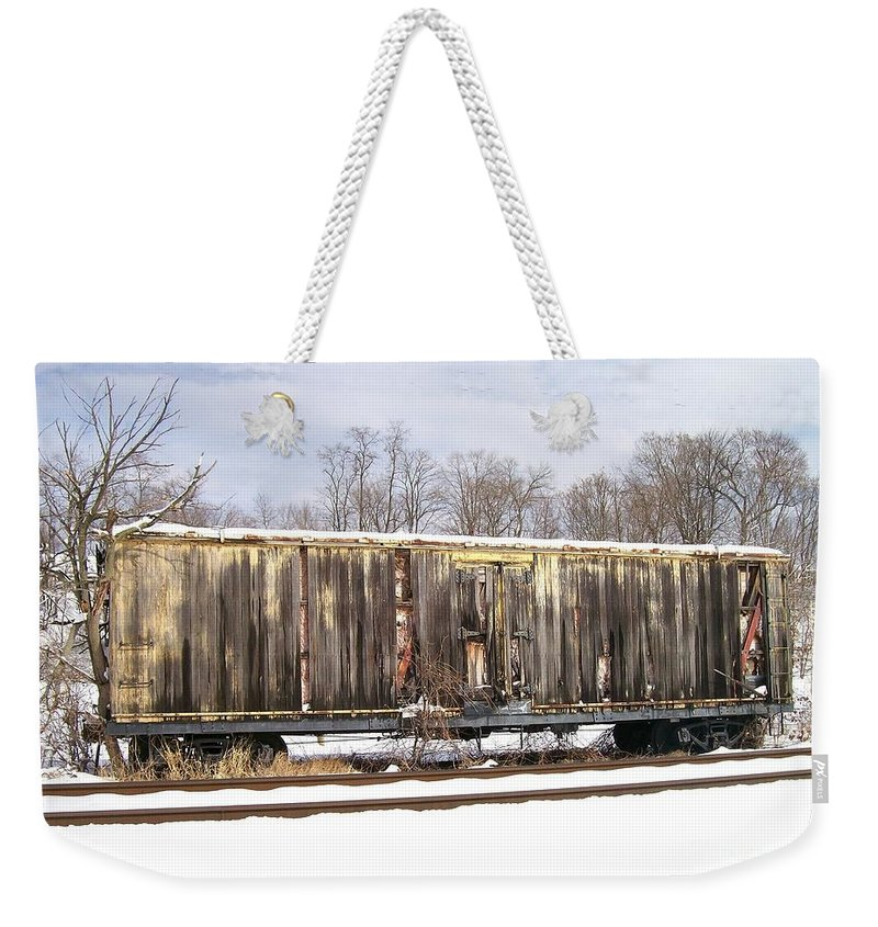 Train Weekender Tote Bag featuring the photograph Burnt by Sara Raber