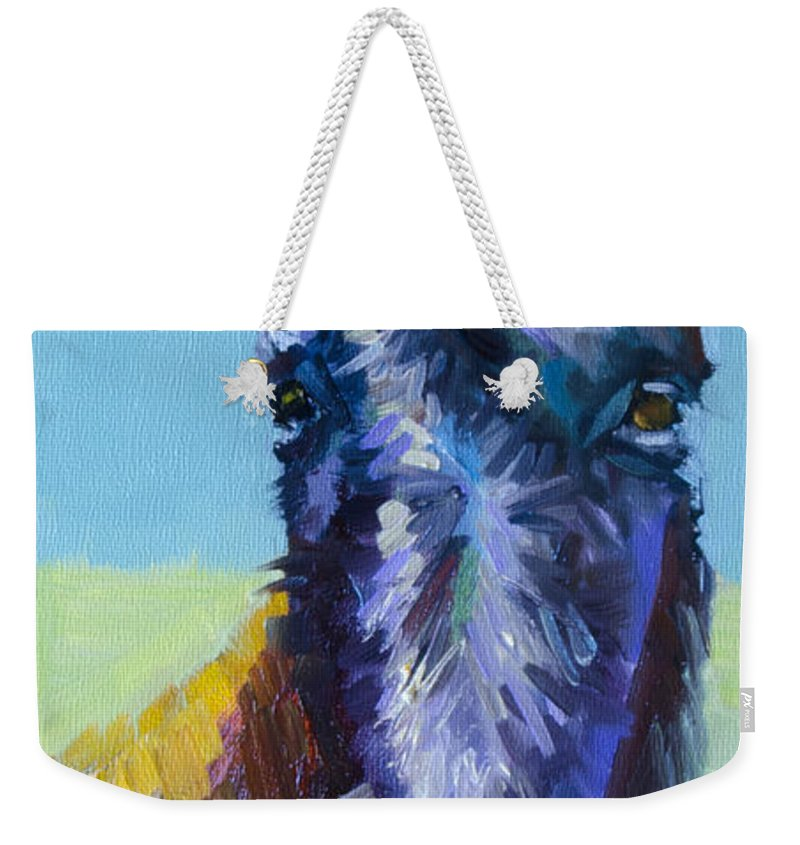 Burro Weekender Tote Bag featuring the painting Burro Stare by Diane Whitehead