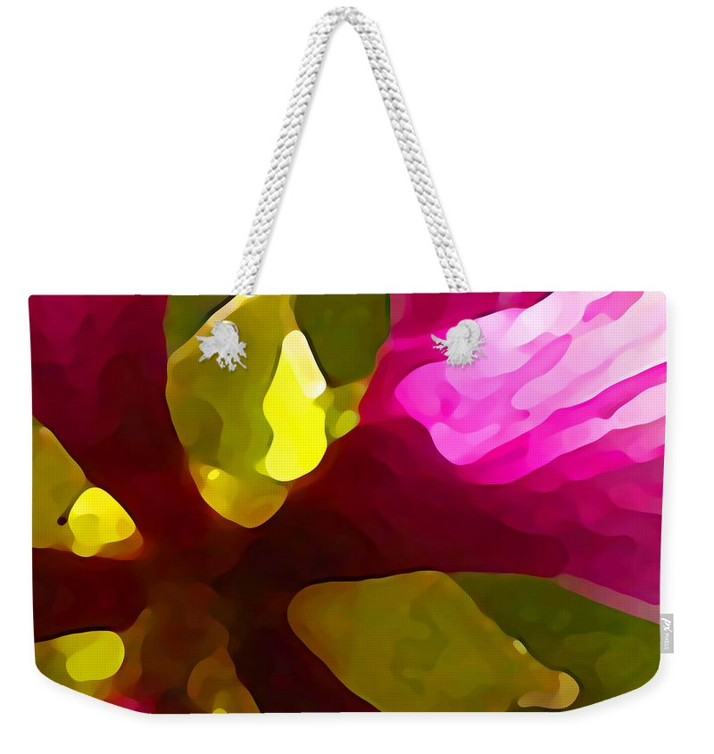 Contemporary Weekender Tote Bag featuring the painting Burst Of Spring by Amy Vangsgard