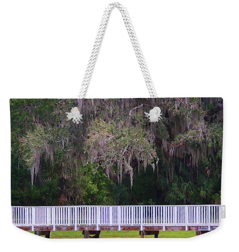 Lake Weekender Tote Bag featuring the photograph Buschman Park Walkway by Deborah Benoit