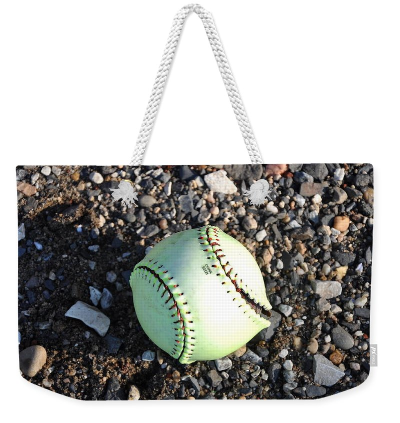 Baseball Weekender Tote Bag featuring the photograph Busted Stitches by Bill Cannon