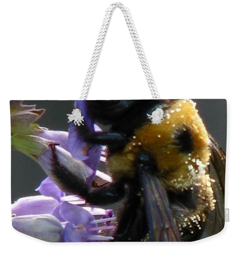Patzer Weekender Tote Bag featuring the photograph Busy Bee by Greg Patzer