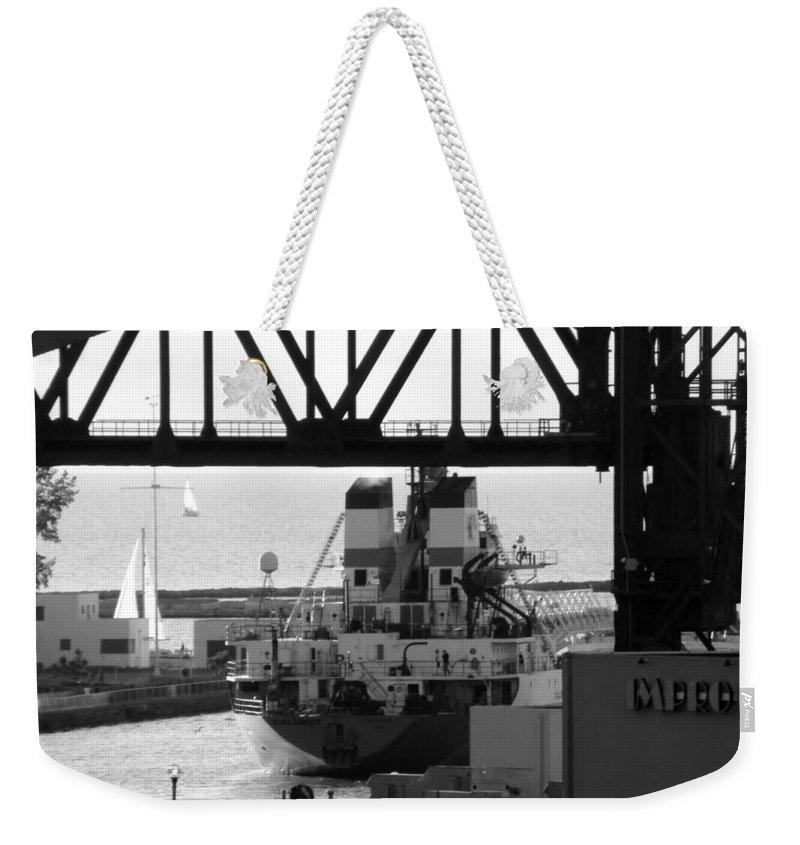 Ship Weekender Tote Bag featuring the photograph Busy Waterway by Wendy Gertz