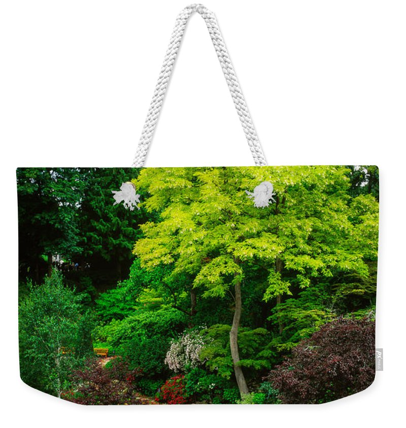 America Weekender Tote Bag featuring the photograph Butchart Gardens Pathway by Inge Johnsson