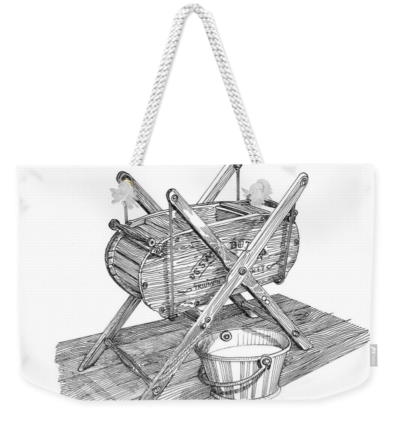 Butter Churn Weekender Tote Bag featuring the drawing Butter Churn Circa 1822 by Jack Pumphrey