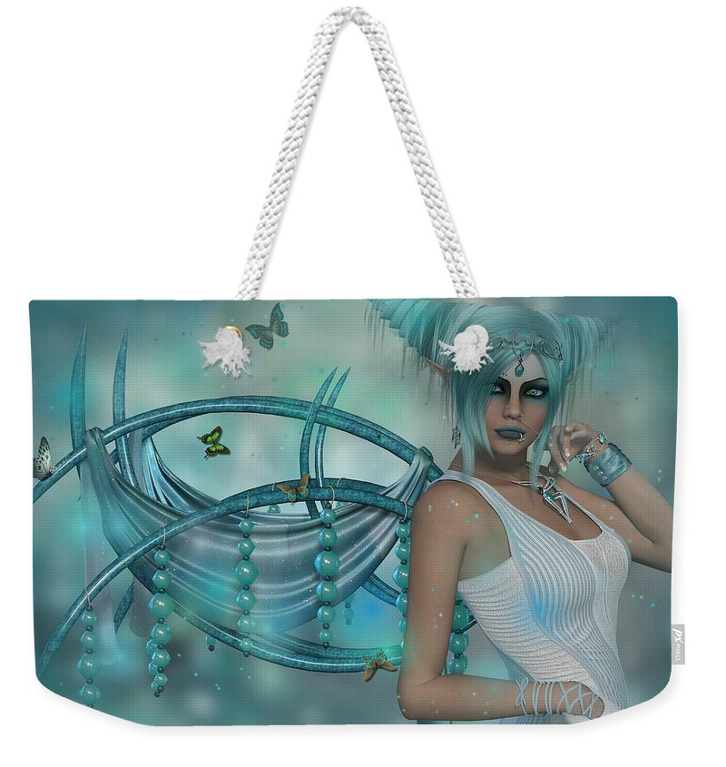 Aqua Blue Fairy Butterfly Beads Pretty Weekender Tote Bag featuring the digital art Butterflies And Beads by Anne Dubois