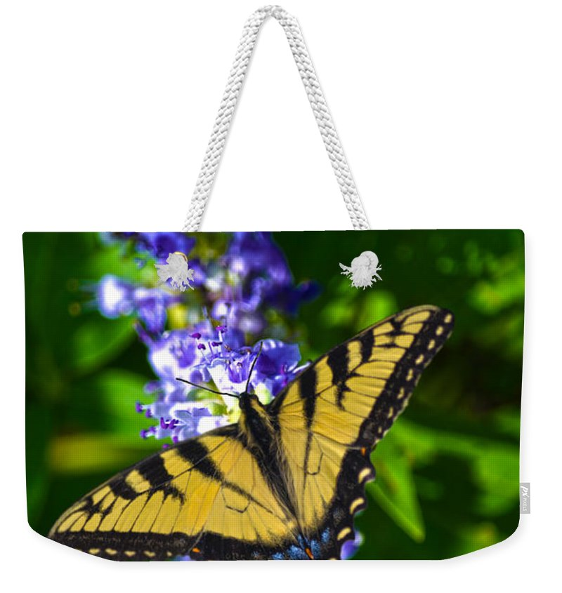 Swallowtail Weekender Tote Bag featuring the photograph Butterflly Bush And The Swallowtail by Sandi OReilly