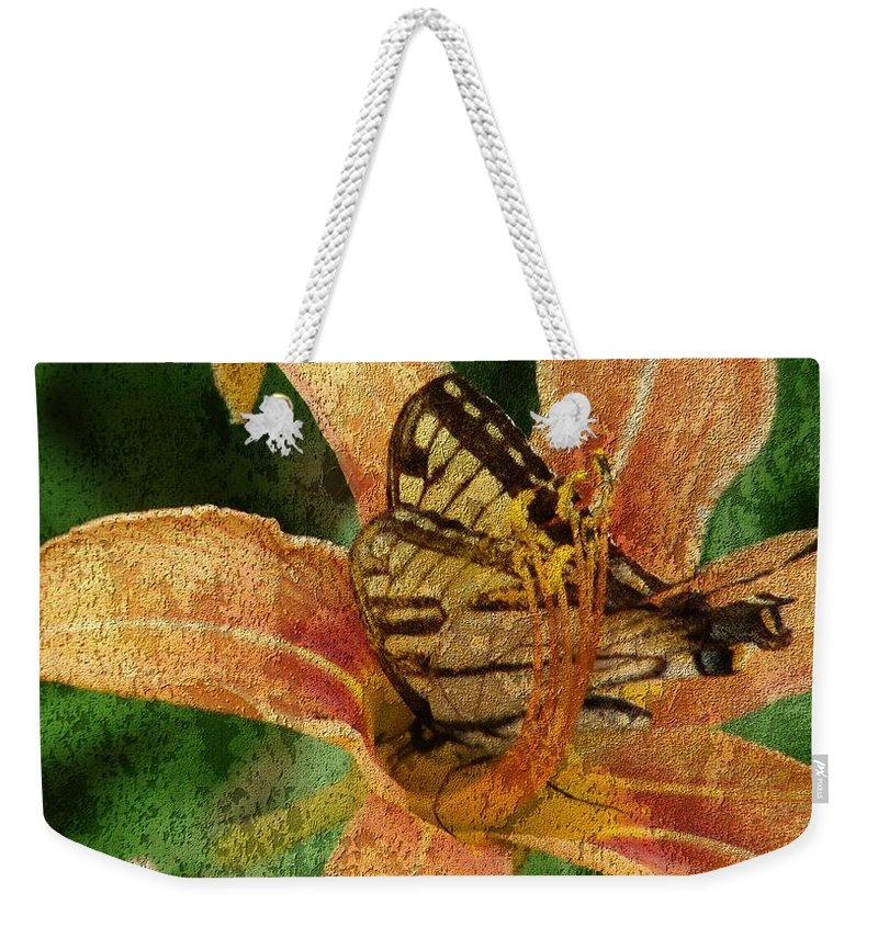 Butterfly Weekender Tote Bag featuring the digital art Butterfly And Lily by Cassie Peters