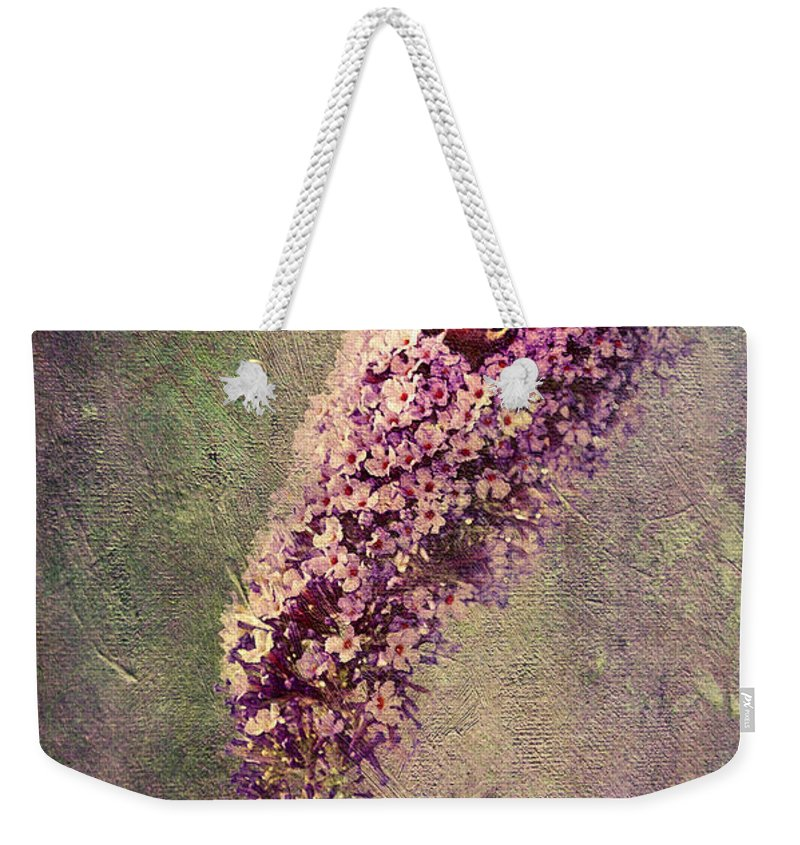 Anniversary Weekender Tote Bag featuring the drawing Butterfly Bush by Svetlana Sewell