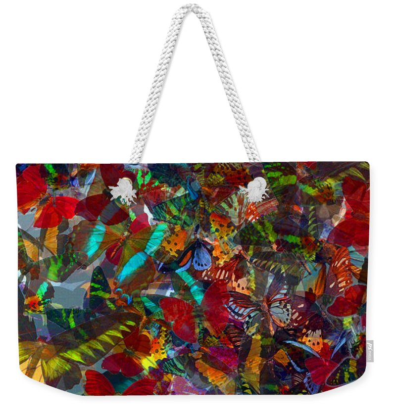 Butterflys Weekender Tote Bag featuring the photograph Butterfly Collage Red by Robert Meanor