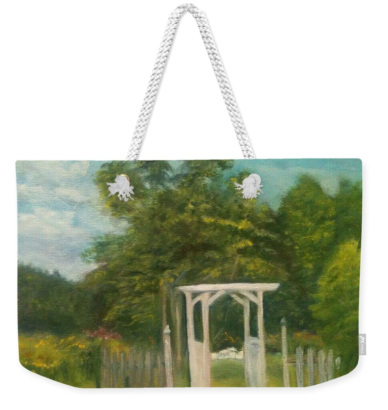 Sheila Mashaw Weekender Tote Bag featuring the painting Butterfly Garden by Sheila Mashaw