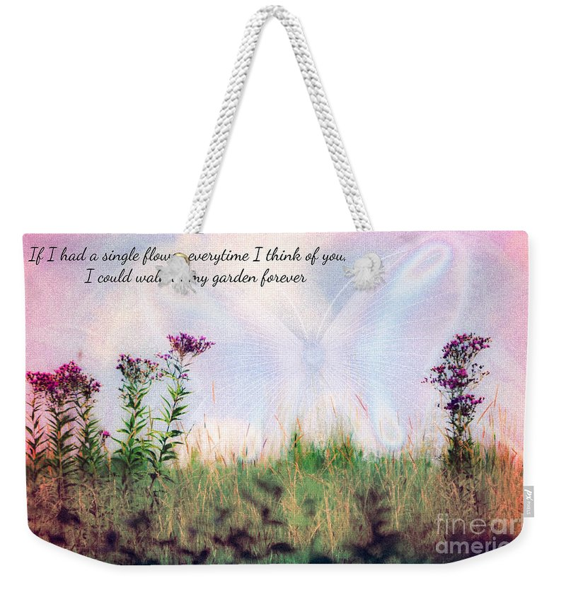 Nature Butterfly Print Butterflyabstract Weekender Tote Bag featuring the photograph Butterfly In My Garden by Peggy Franz
