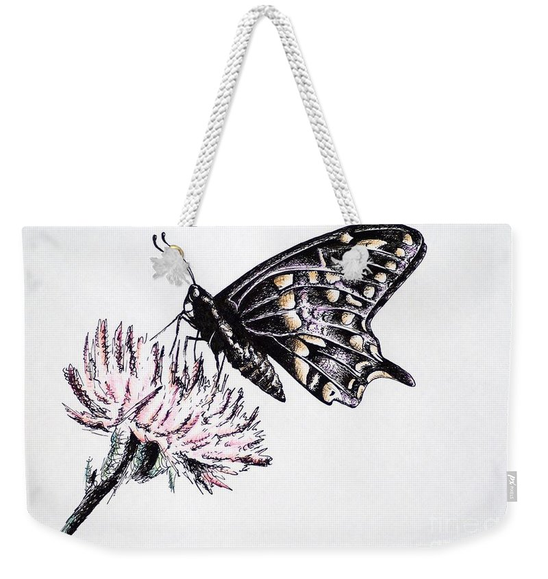 Butterfly Weekender Tote Bag featuring the drawing Butterfly by Katharina Filus