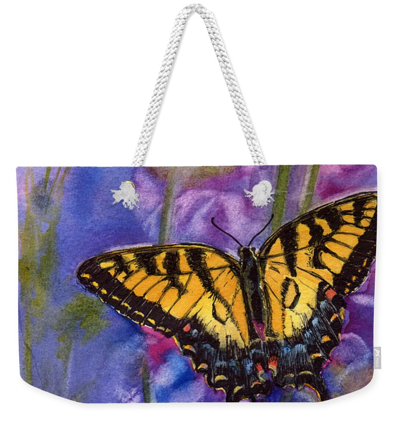 Butterfly Weekender Tote Bag featuring the painting Butterfly by Katherine Berlin
