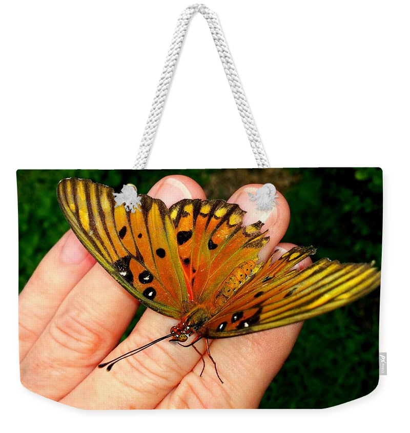 Butterfly Weekender Tote Bag featuring the photograph Butterfly Landing by Paul Wilford