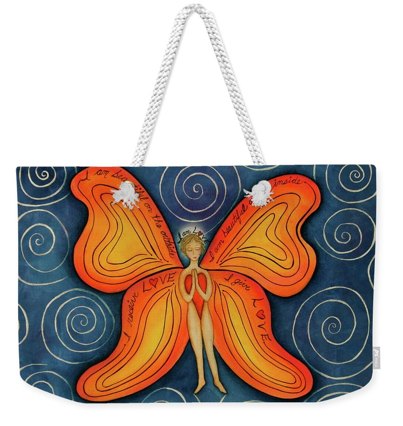 Butterfly Canvas Prints Weekender Tote Bag featuring the painting Butterfly Mantra by Deborha Kerr