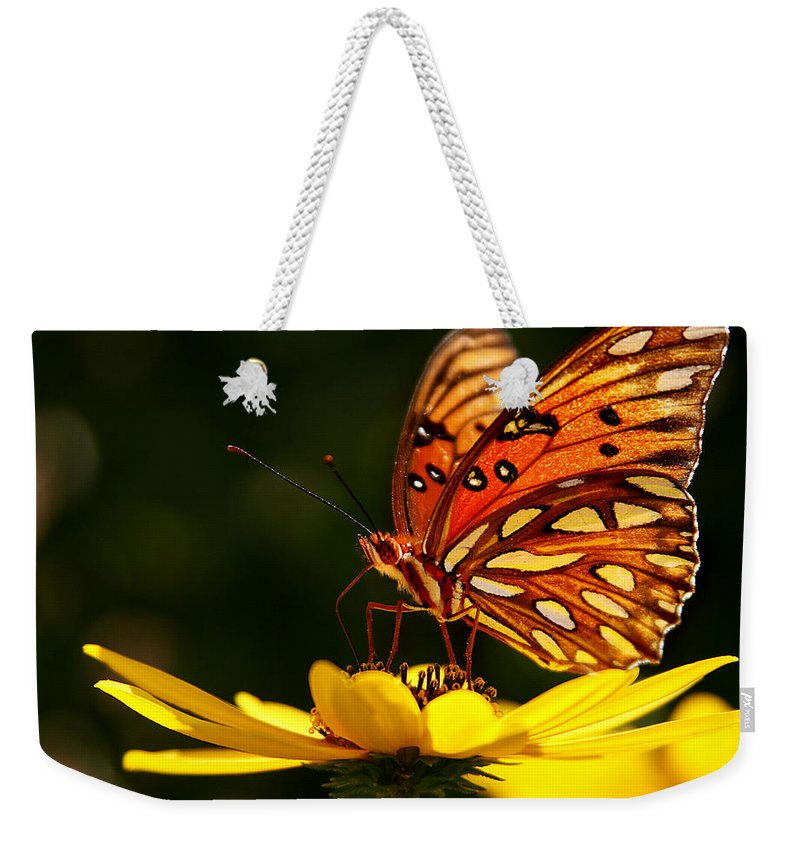 Butterfly Weekender Tote Bag featuring the photograph Butterfly On Flower by Joan McCool