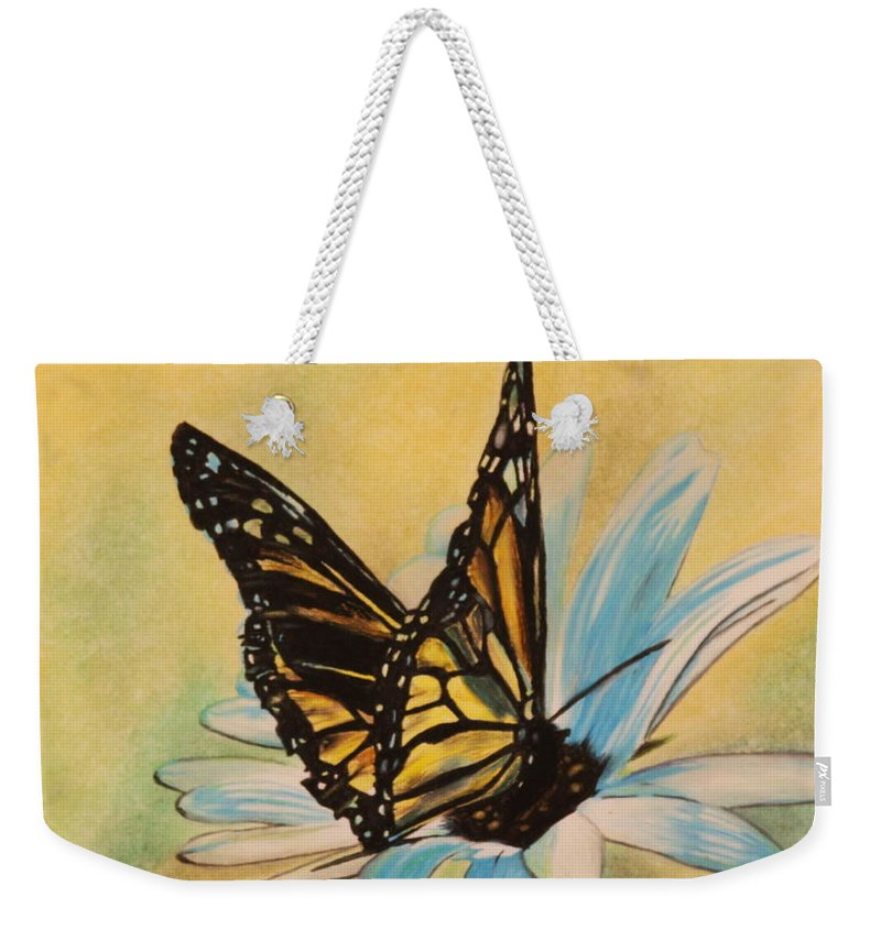 Butterly Weekender Tote Bag featuring the drawing Butterfly On Flower by Michelle Miron-Rebbe