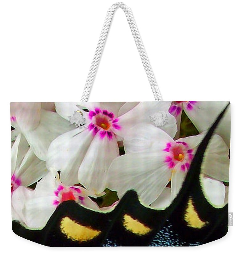 Plants Weekender Tote Bag featuring the photograph Butterfly Wing And Phlox by Duane McCullough
