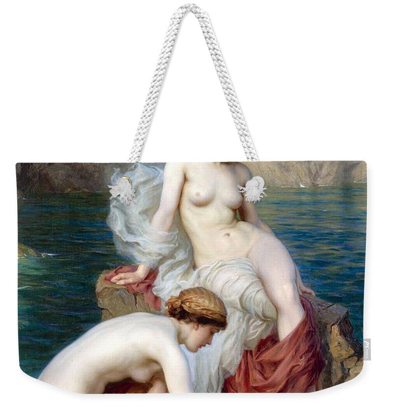 Herbert James Draper Weekender Tote Bag featuring the photograph By Summer Seas by Munir Alawi