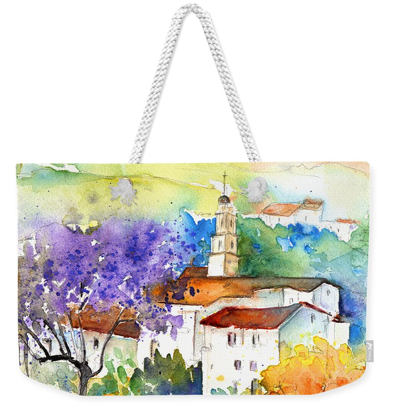 Travel Weekender Tote Bag featuring the painting By Teruel Spain 02 by Miki De Goodaboom