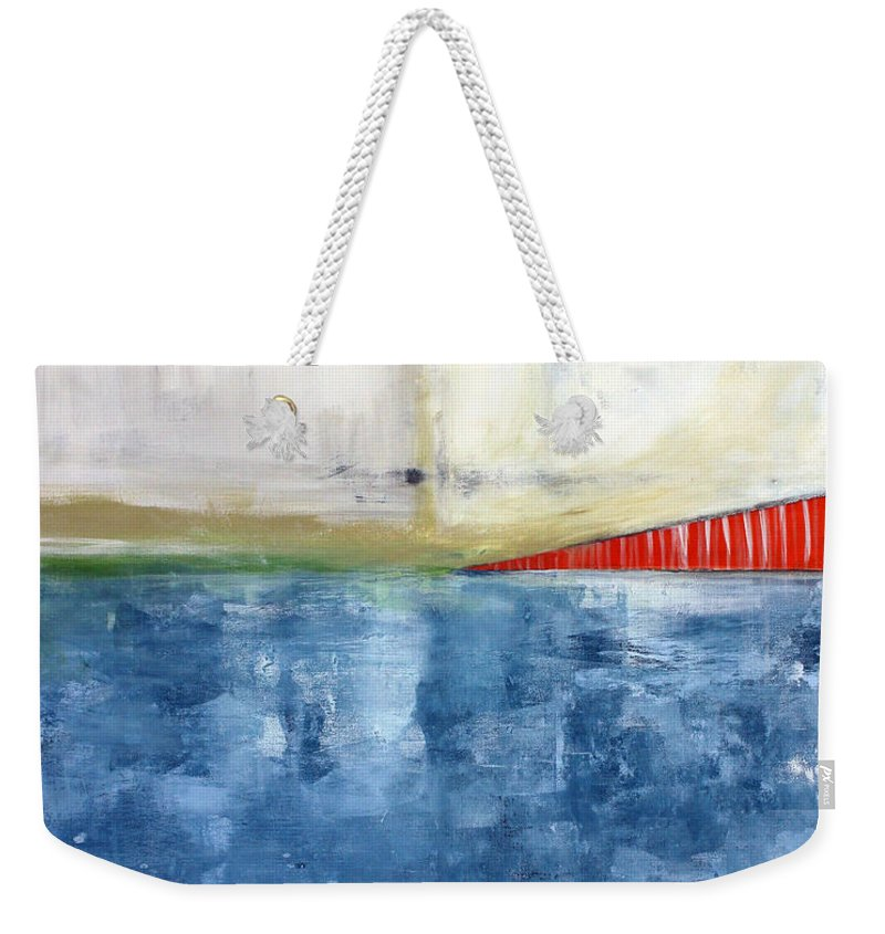 Golden Gate Bridge Weekender Tote Bag featuring the mixed media By The Bay- Abstract Art by Linda Woods