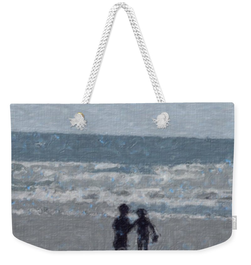 Fun Weekender Tote Bag featuring the painting By The Ocean by Sergey Bezhinets