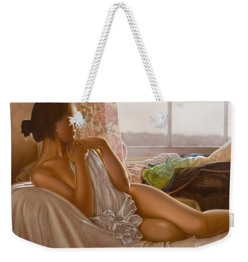 Paintings Weekender Tote Bag featuring the painting By The Window by John Silver