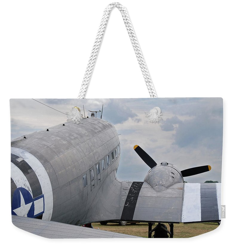 Aircraft Weekender Tote Bag featuring the photograph C-47 3880 by Guy Whiteley