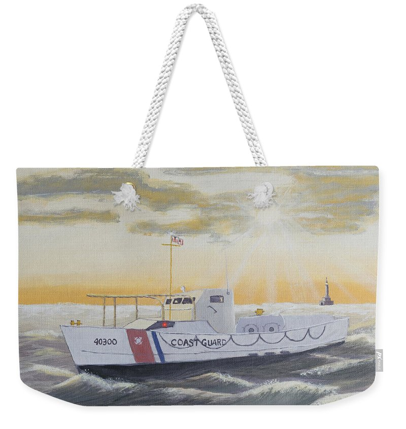 Coast Guard Weekender Tote Bag featuring the painting C G 40300 On Patrol by Jerry McElroy