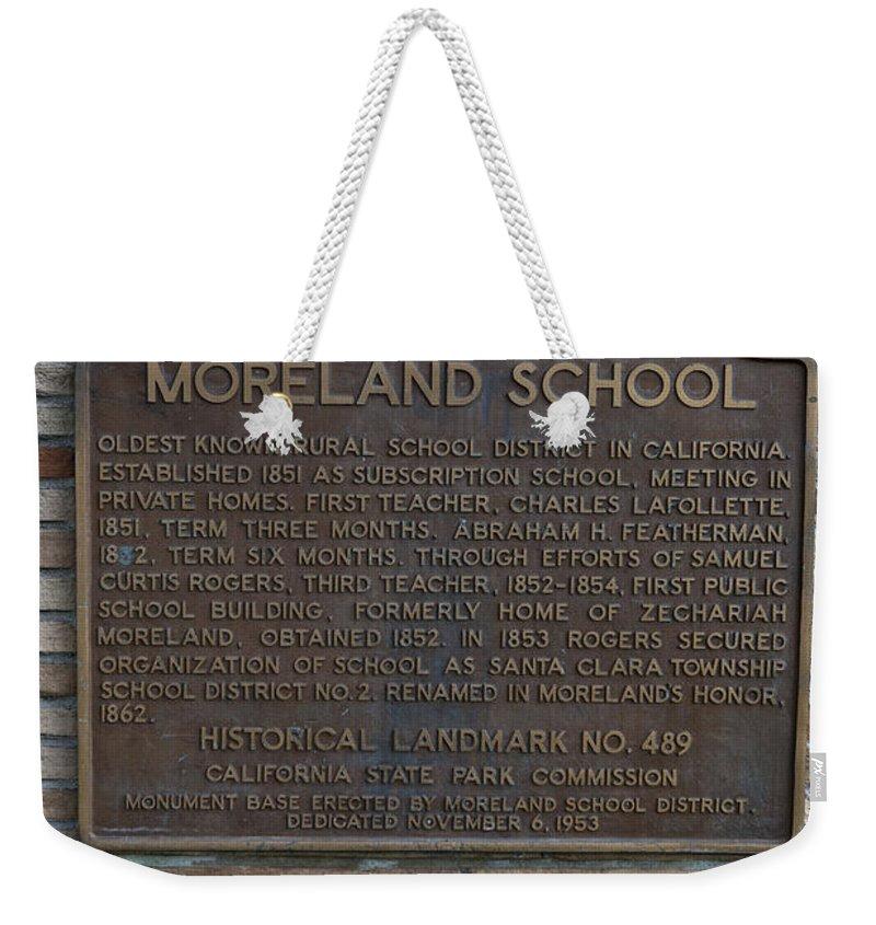 Moreland School Weekender Tote Bag featuring the photograph Ca-489 Moreland School by Jason O Watson