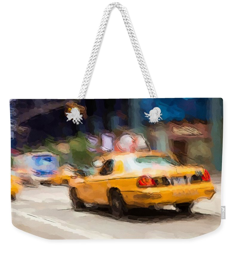 New York City Weekender Tote Bag featuring the photograph Cab Ride by Karol Livote