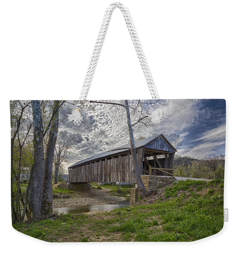 Architecture Weekender Tote Bag featuring the photograph Cabin Creek Covered Bridge by Jack R Perry