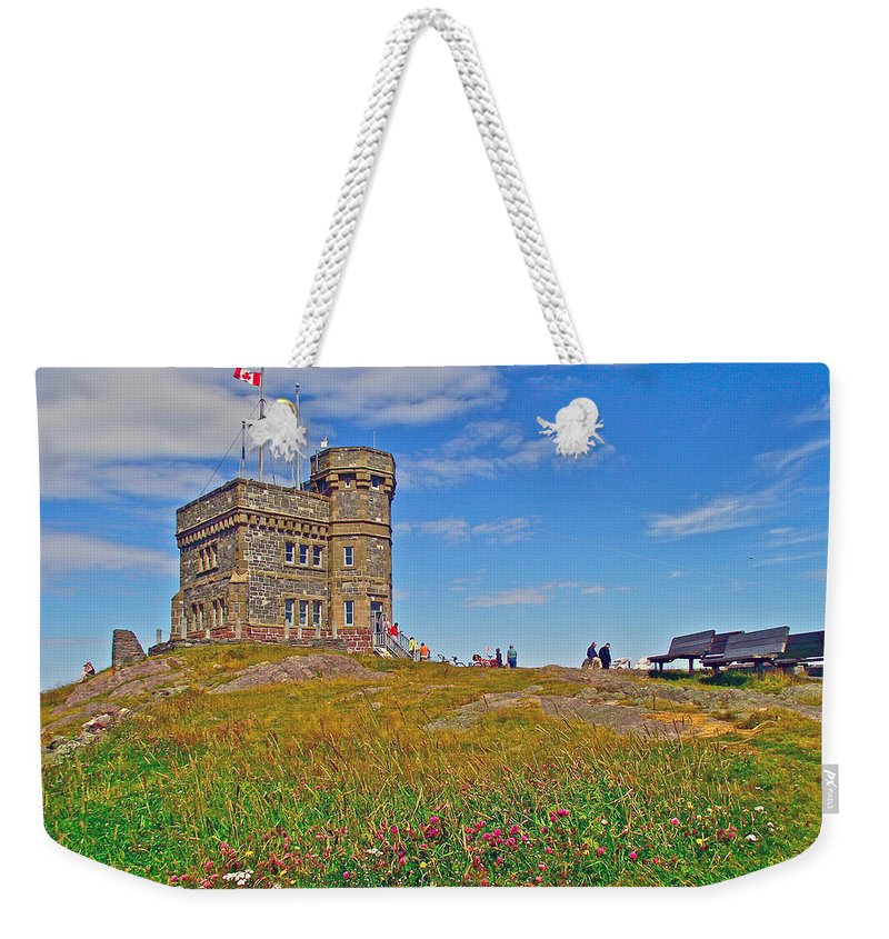 Cabot Tower In Signal Hill National Historic Site In Saint John's Weekender Tote Bag featuring the photograph Cabot Tower In Signal Hill National Historic Site In Saint John's-nl by Ruth Hager