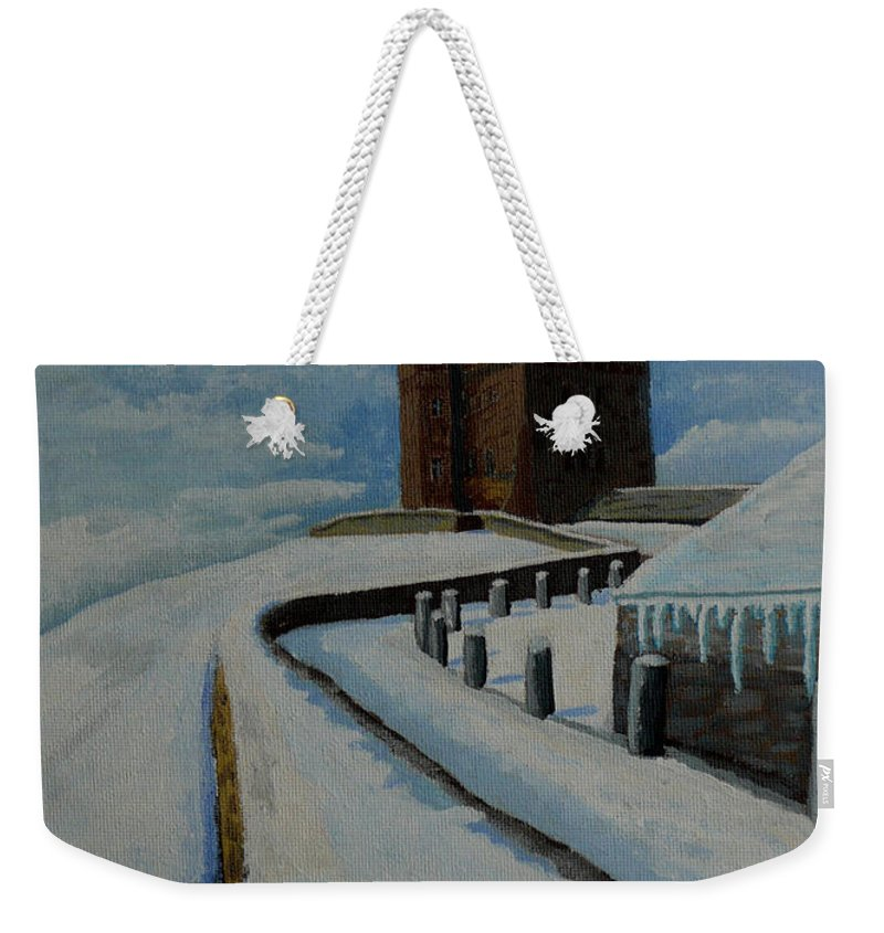 Landscape Weekender Tote Bag featuring the painting Cabot Tower Newfoundland by Anthony Dunphy
